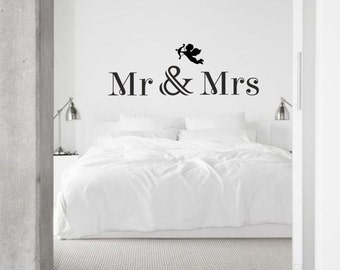 Mr and Mrs vinyl wall decal and love / sticker / mural removable wall art ideal for bedroom decor