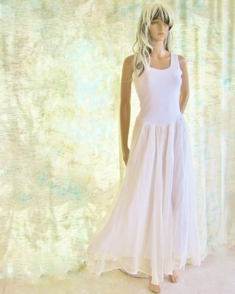 Beach Wedding Gown Summer Long Dress Cotton And Silk Summer