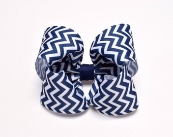 Girls Hair Bows, Navy Blue and White Chervon, 5 Inch Hair Bow, Baby Toddler Girl, Chevron Hair Bow on Barrette or Alligator Clip