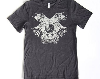 Lunar Owls - Orbital Nest - Printed in Pale Moon Gray on a Heathered Charcoal Color Tshirt