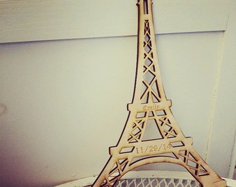 "Eiffel Tower  Laser cut and laser engraved Wood 12 x 8"" Also available in Acrylic"