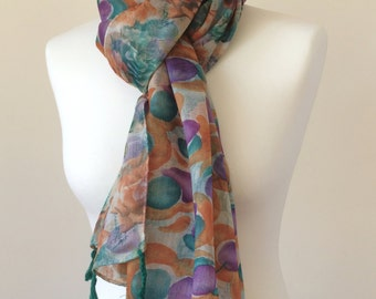 Green Purple Flowers Scarf, Floral Scarf, Spring Scarf with Tassels, Mothers Day Gift, Soft Linen Scarf, ReddApple, Fast Delivery