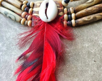 Single red feather choker