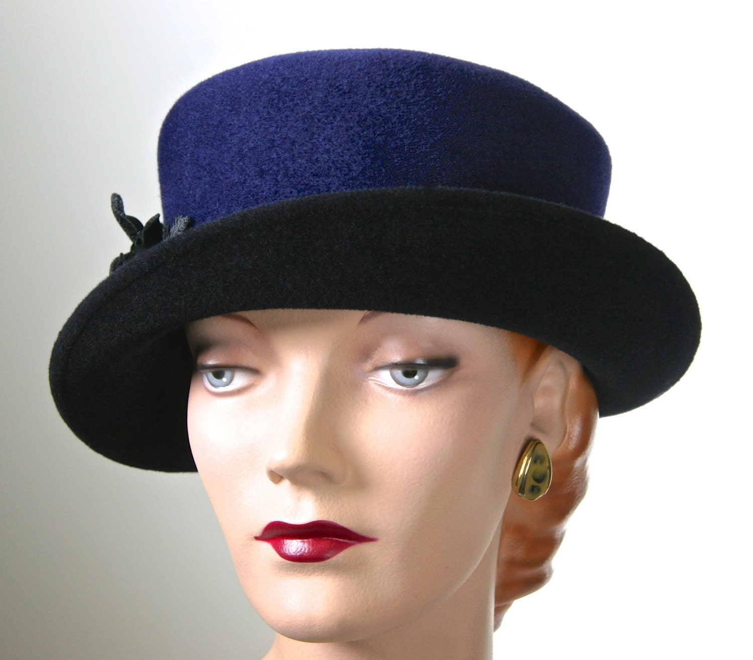 s navy blue winter hat small brim hat by