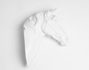 White Faux Taxidermy - Small Faux Horse Head - Equine Art - The Pepino - Small White Resin Horse Head Mounted- Faux Head Wall Mount
