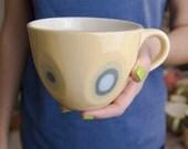 Ceramic stoneware cup coffee tea - unique handmade decorative textured kitchen pottery modern morning coffee .
