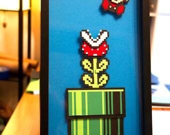 Mario Piranha Plant - Super Mario 3 - paper 8 bit art - hand cut 3D papercraft video game decor in shadowbox