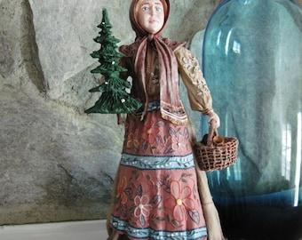 "Duncan Royale Bubouska, Christmas Santa Lady 12"", Figurine Signed and Numbered 718 Ltd Edition"