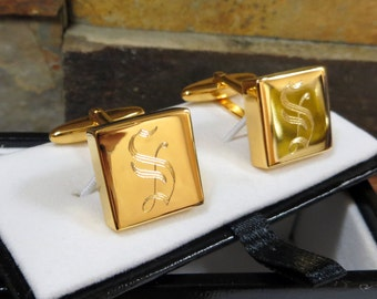 High Polish Brass Cuff Links - Personalized - Engraved - Monogram Gifts for Men- Groomsmen (260)