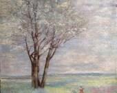 Springtime Impressionist Style Painting,Vintage Spring landscape, Women picking flowers painting, 1930's impressionist style painting