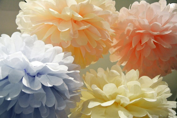 12 Tissue Paper Pom Poms - Any Color - Wedding Pom Poms - Wedding Decor - Paper Pom Poms - Paper Balls