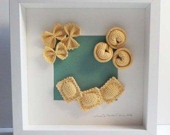 FRAMED FIBER ART - 3D Wall Art - 3D Wall Hanging - Crochet Italian Pasta Set - Wedding Gift - New Home Gift - Retirement Gift - Home Décor