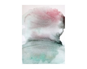 """Imaginary Landscape Reflected. Watercolor painting Original abstract art Minimal artwork in red, green and grey 4.5""""x6"""" Living room art"""