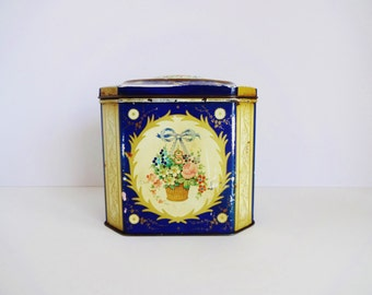 Scottish Tea Tin / Tea Caddy c. 1930s - Blue and Gold Floral Design