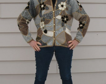 Vintage Wool Patchwork Cardigan Original Collage Hipster Sweater