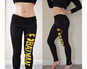 BATMAN COMIC Black super soft stretchy Jersey Plus Size Yellow Sweatpants Leggings Pants 100% Cotton Yoga Gym Workout