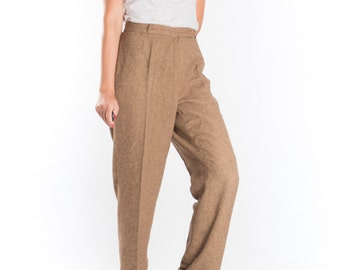 Vintage Brown Flax Pleated Pants Trousers / Retro High Waisted Pants / 1960s 70s / Women's Size Medium