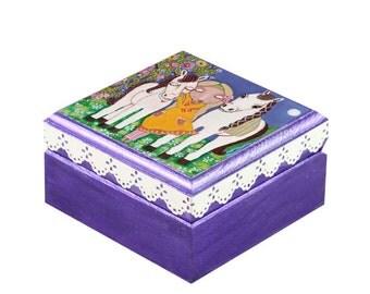 A Girl With Horses- Jewelry Box, Wood Handmade Wooden Trinket Box,Treasure BOX Handmade, by Evona