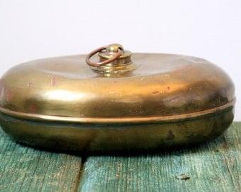 Italian oval copper flask