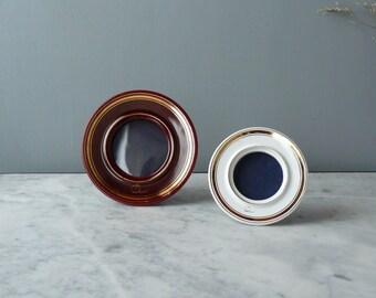 Vintage photo frame. Ceramic photo frames. set of two round frames