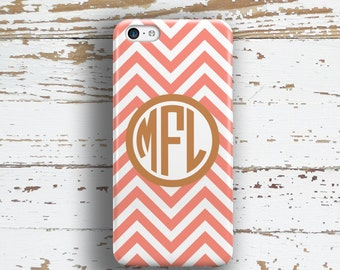 Chevron Iphone 6 case, Monogram Iphone 5 case, Preppy Iphone 5c case, Cute Iphone 6s case, Teen's fashion gift, Coral white chevron (9876)