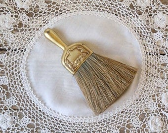 Vintage Hat Brush clothes brush brass plated natural bristles art nouveau