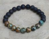 African Turquoise Bracelet for Men, Unisex Beaded Bracelet, Lava Rock Bracelet, Black Men's Bracelet, Turquoise Bracelet, Gift for Him