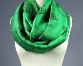 Leaf Green scarf, green scarf, St. Patrick's Day Infinity Scarf,  paisley scarf, pashmina