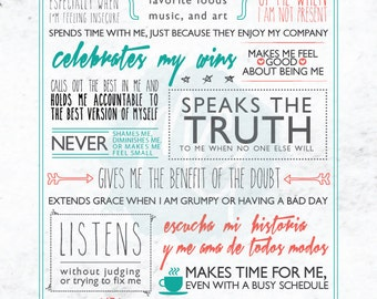 "For a Friend - 8x10"" - Word Collage Art Print"