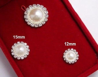 Cutie PEARL RHINESTONE buttons (Flat Back) - 10 buttons set