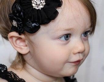 Black Baby Headband, Infant Headband, Newborn Headband, Baby Headband, Toddler Headband, Girls Headband. Black Chiffon and Satin
