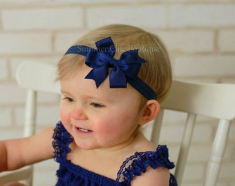 Baby Headband, Bow Headband, Infant Headband, Newborn Headband - Navy Pinwheel  Bow Headband, Headband,Bow on Fold over elastic