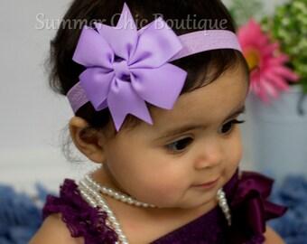 Lavender Baby Headband, Bow Headband, Infant Headband, Newborn Headband - Lavender Pinwheel Bow Headband, Headband, Lavender Bow