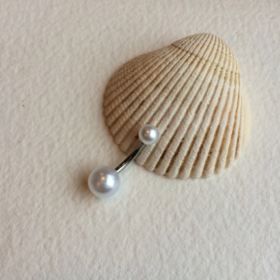 pearl belly ring pearl belly button ring pearl bellybutton