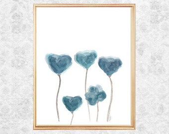 Blue Gray Art, Watercolor Flowers, Blue Gray Decor, Teal Blue Art, Blue Gray Wall Decor, Watercolor Painting, Blue Gray Print, Flower Art