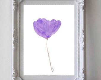 Purple Watercolor Flower, 5x7 Watercolor Art Print,  Purple Flower, Watercolor Painting, Purple Nursery, Nursery Watercolor, Small Art