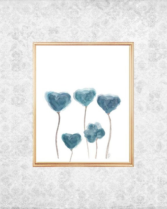 Blue Gray Watercolor Flowers Print, 5x7, 8x10