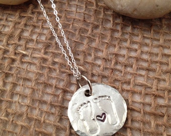 Your Child's ACTUAL Footprints Necklace in Fine Silver with or without heart
