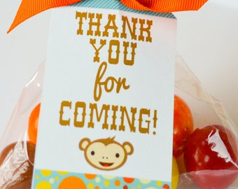 INSTANT Download Retro Monkey Printable Party Favor Tags - Please Read Description Thoroughly - Printable Parties to Go