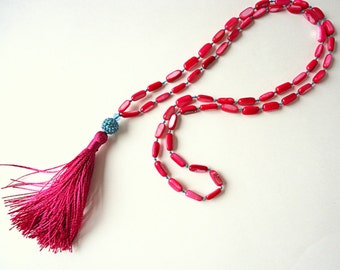 Tassel necklace, Fuchsia necklace, Aqua Blue necklace, Rosary necklace, boho necklace, trends 2018, gypsy necklace, hippie necklace