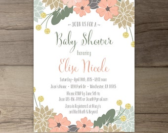 Floral Baby Shower Invitations • Blessingway Invites • printable