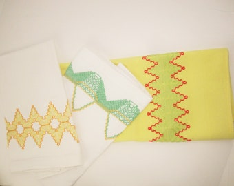 Three Huck-weave Kitchen Towels - Yellow, Orange, Green - Yellow and White Towels - Dish or Tea Towels - Tray Scarf - Multi-purpose