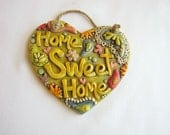 Home Sweet Home, Heart wall hanging, Whimsical Paisley Wall Plaque, Housewarming Gift