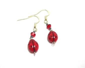 Ladybug with Red Swarovski Dangle Earring