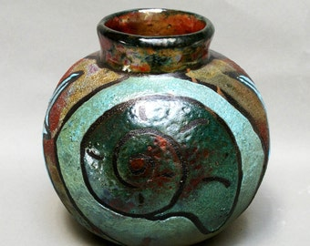 Vase Raku Pottery Seashell Gifts Ceramic Pottery Starfish Nautilus Seashore Home Decor Art Copper Vases Turquoise Vases 8x8x8 inches