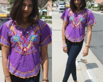Purple Cropped Peasant Hippie Floral Embroidered Festival Triangle Top
