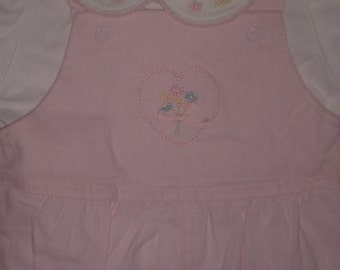 Vintage Infant BABY PINK LINEN 2 pc Overall Set
