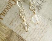 Silver Crystal Earrings, Silver Earrings Handmade, Upcycled Recycled Repurposed, Jewelry Crystal, Repurposed Vintage Jewelry