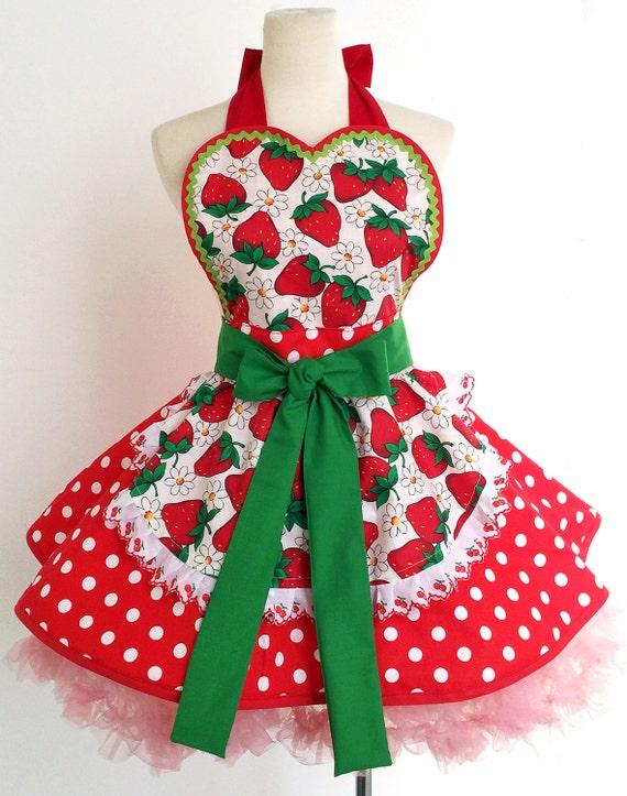 Cute Apron for Women- Strawberry Retro Apron