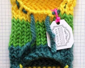 Green Machine: Handmade Extra Small Hooded Pet Sweater